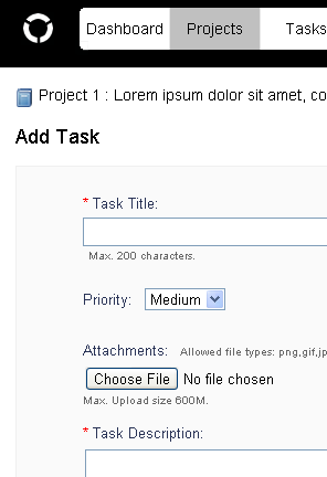 screenshot of add task page