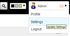 screenshot of settings page